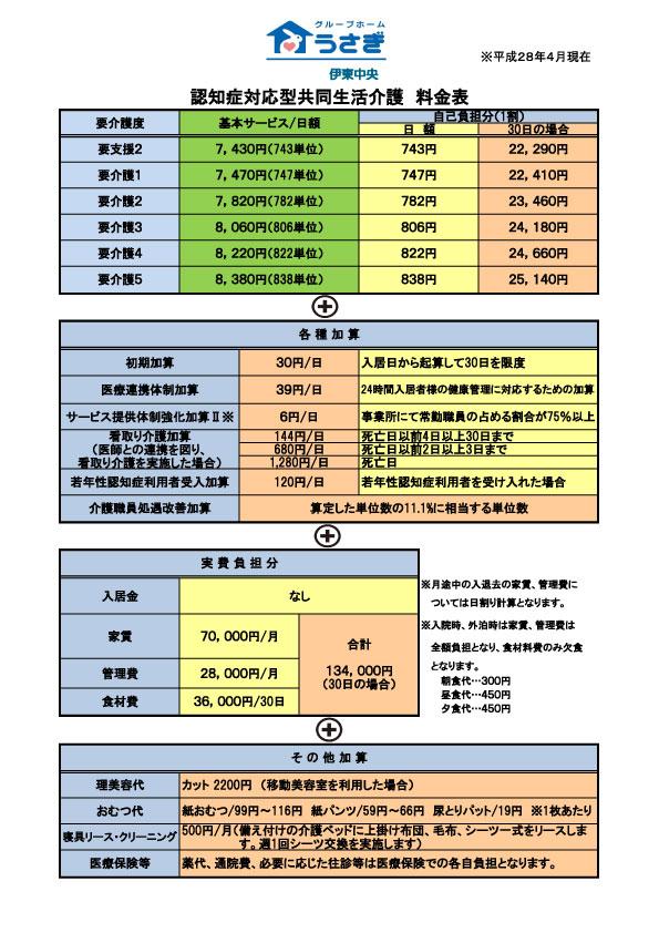 グループホーム伊東中央の料金表